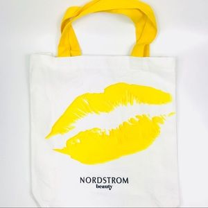 Nordstrom Hey Gorgeous white tote bag yellow lips